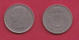 BELGIUM, 1952, 2 Circulated Coins Of 1 Franc, Dutch, Copper Nickel, KM 143.1,  C3102 - 04. 1 Franc