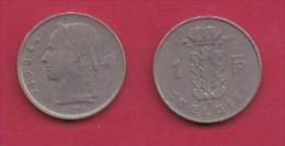 BELGIUM, 1954, 2 Circulated Coins Of 1 Franc, Dutch, Copper Nickel, KM 143.1,  C3103 - 04. 1 Franc