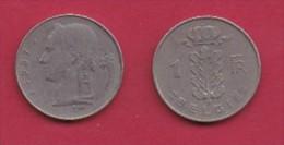 BELGIUM, 1957, 2 Circulated Coins Of 1 Franc, Dutch, Copper Nickel, KM 143.1,  C3106 - 04. 1 Franc