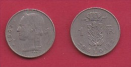 BELGIUM, 1963, 2 Circulated Coins Of 1 Franc, Dutch, Copper Nickel, KM 143.1,  C3109 - 04. 1 Franc