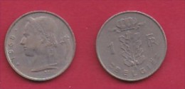 BELGIUM, 1968, 2 Circulated Coins Of 1 Franc, Dutch, Copper Nickel, KM 143.1,  C3112 - 1951-1993: Baudouin I