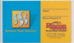 Rincon Casino Laminated Paper Senior Slot Society Card - Casino Cards