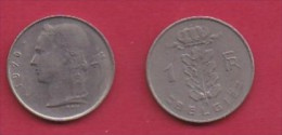 BELGIUM, 1970, 2 Circulated Coins Of 1 Franc, Dutch, Copper Nickel, KM 143.1,  C3114 - 04. 1 Franc