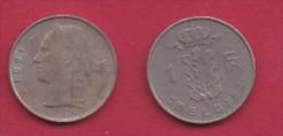 BELGIUM, 1971, 2 Circulated Coins Of 1 Franc, Dutch, Copper Nickel, KM 143.1,  C3115 - 04. 1 Franc
