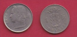 BELGIUM, 1973, 2 Circulated Coins Of 1 Franc, Dutch, Copper Nickel, KM 143.1,  C3117 - 04. 1 Franc