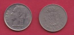 BELGIUM, 1980, 2 Circulated Coins Of 1 Franc, Dutch, Copper Nickel, KM 143.1,  C3122 - 04. 1 Franc