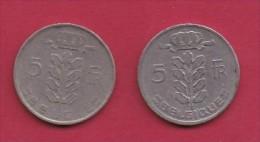 BELGIUM, 1948, 2 Circulated Coins Of 5 Francs, Dutch, Copper Nickel, KM 135.1,  C3123 - 1951-1993: Baudouin I