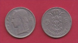 BELGIUM, 1958, 2 Circulated Coins Of 5 Francs, Dutch, Copper Nickel, KM 135.1,  C3126 - 1951-1993: Baudouin I