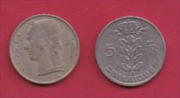 BELGIUM, 1963, 2 Circulated Coins Of 5 Francs, Dutch, Copper Nickel, KM 135.1,  C3129 - 1951-1993: Baudouin I