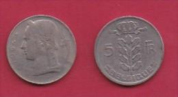 BELGIUM, 1964, 2 Circulated Coins Of 5 Francs, Dutch, Copper Nickel, KM 135.1,  C3130 - 1951-1993: Boudewijn I