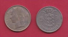 BELGIUM, 1966, 2 Circulated Coins Of 5 Francs, Dutch, Copper Nickel, KM 135.1,  C3132 - 1951-1993: Baudouin I