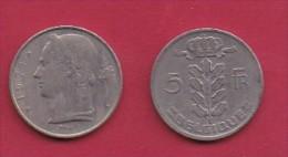 BELGIUM, 1971, 2 Circulated Coins Of 5 Francs, Dutch, Copper Nickel, KM 135.1,  C3134 - 1951-1993: Baudouin I