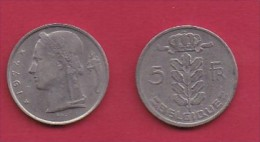 BELGIUM, 1974, 2 Circulated Coins Of 5 Francs, Dutch, Copper Nickel, KM 135.1,  C3136 - 1951-1993: Baudouin I