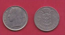 BELGIUM, 1977, 2 Circulated Coins Of 5 Francs, Dutch, Copper Nickel, KM 135.1,  C3138 - 1951-1993: Baudouin I