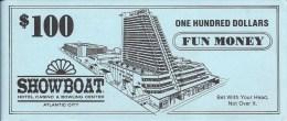 Showboat Casino Atlantic City, NJ $100 Fun Money Bill - Casino Cards