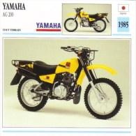 Yamaha AG 200 Tout Terrain   -  1985     -  Fiche Technique Moto (Japon) - Motorcycle Japan - Picture Cards
