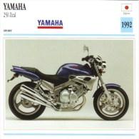 Yamaha 250 Zeal   -  1992     -  Fiche Technique Moto (Japon) - Motorcycle Japan - Picture Cards
