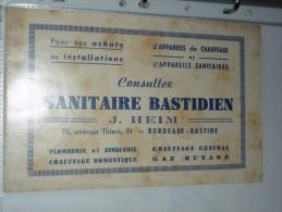 BUVARD COLLECTION  Sanitaire Bastidien J HEIM Bordeaux Plomberie Zinguerie Gaz - Buvards, Protège-cahiers Illustrés