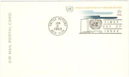 ONU - NAZIONI UNITE - UNITED NATIONS - NATIONS UNIES – 1969 - 8c - Air Mail - Carte Postale - Postal Card - Int... - New York - Sede Centrale Delle NU