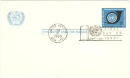 ONU - NAZIONI UNITE - UNITED NATIONS - NATIONS UNIES – 1969 - 5c - Carte Postale - Postal Card - Intero Postale... - New York - Sede Centrale Delle NU