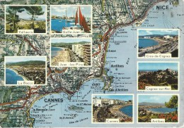 Map Of The French Coast From Cannes To Nice - Other