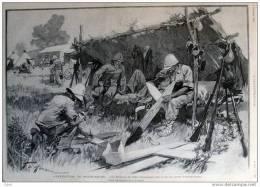 L´expédition De Madagascar - Les Bretons Fabriquant Des Croix Au Camp D´Ankabouka  - Page Original  1895 - Historical Documents