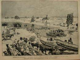 Expédition De Madagascar - La Rivière De Marovay - Construction Du Pont Par Le Génie - Page Original 1895 - Historical Documents