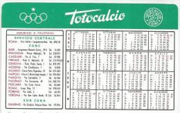 CALENDARIETTO  PLASTIFICATO PLUBBLICITARIO TOTOCALCIO - ANNO 1961-62 - Calendriers