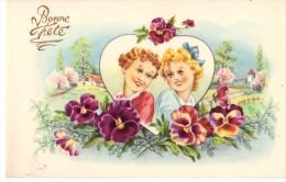 C.P.A. Fleur  - Bonne Fête -2 Enfants Dans Un Coeur Entouré De Pensées Avec Village En Fond - Série 3200 - M.D. Paris - Fleurs