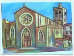 Oeuvre Originale Pastel Sur Feuille D´art église POUSSAN Hérault Tableau - Pastels