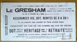 Buvard LE GRESHAM Assurances Vie, Dot, Rentes De 8 à 20% - Bank & Insurance