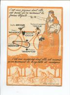 VELO BOWDEN CICCA BRAMPTON  BICYCLETTE  MINI CALENDRIER 1925 ILLUSTRE ART DECO JEUNE FEMME ELEGANTE  AFFICHES GAILLARD - Kalenders