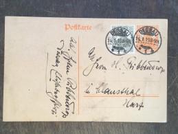 I16 Deutsches Reich Allemagne Germany Ganzsache Stationary Postal Entier Mi. P 110I Dessau Nach Clausthal - Deutschland
