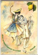 FÊTES DU CITRON MENTON, Aquarelle Marcel PERTUY, Pierrot, Niçoise Costume Folklorique, 06 - Peintures & Tableaux