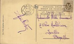 """GENT-GAND 1931-flamme""""VERSCHE DRUIF VOEDT EN GENEEST-LE RAISIN FRAIS NOURRIT ET GUERIT"""" Marcophilie- - Flammes"""