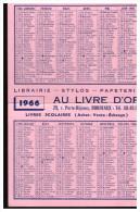 Calendrier 1966 Et 1967 AU LIVRE D'OR (bordeaux) (PPP1575) - Calendriers