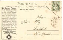 Schweiz, Aushilfstempel, Aarburg 7.3.1901 Nach Linththal, Karte Von Neuchatel Mit Zudruck, Siehe Scans! - 1882-1906 Wappen, Stehende Helvetia & UPU
