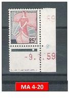 Timbre N° 1216** Marianne à La Nef - Variété Bonnet Touchant Le Haut Du Cadre - Rouge Très Pâle + Date