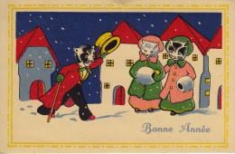Thématiques Mini Carte Postale Vœux Meilleurs Vœux Bonne Année Chats - New Year