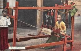 """04343 """"BURMA - MYANMAR - BIRMANIA - BURMESSE WEAWING"""" ANIMATA. CART. ILLUSTR. ORIG. NON SPEDITA. - Myanmar (Burma)"""