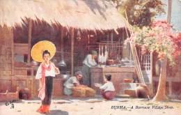 """04344 """"BURMA - MYANMAR - BIRMANIA - A BURMESE VILLAGE SHOP"""" ANIMATA. CART. ILLUSTR. ORIG. NON SPEDITA. - Myanmar (Burma)"""