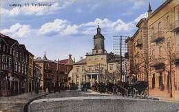 "04351 ""LUBLIN - UL. KROLEWSKA"" ANIMATA - CARROZZE. CART. ILLUSTR. ORIG. SPEDITA 1956. - Polonia"