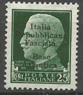 BASE NAVALE ITALIENNE A BORDEAUX N� 4 NEUF* CHARNIERE Sign� CALVES /  MH / 2 SCANS