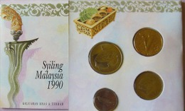 Malaysia 1990 Set Of 6 Coins (1+5+10+20+50 Cen + 1 Ringgit) UNC Malay Version - Malaysia