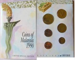 Malaysia 1990 Set Of 6 Coins (1+5+10+20+50 Cen + 1 Ringgit) UNC English Version - Malaysia