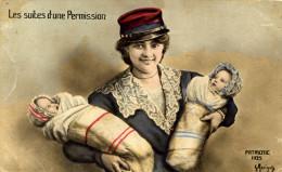 7335 - GRAINE DE POILU, Femme Au Képi Avec Deux Bébés Suites D´une Permission, Illustration De Morinet - War 1914-18