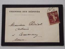 55 COMMERCY - Enveloppe Postale à L´En-tête De La CHAMBRE Des DEPUTES  - Adressée à M THIRIOT - Notaire - Postmark Collection (Covers)