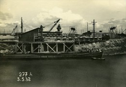 France Port De Dunkerque Travaux D'Extension Digue Sud & Ouest Ancienne Photo 1932 - Places