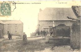 70 - Haute-Saône - MONTJUSTIN - Beau Plan Animé à La Fontaine, 1907 Cachet Train Timbre Taxe - France