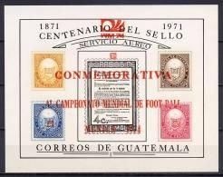 Guatemala 1974 Football Soccer World Cup S/s With Red Overprint MNH -scarce- - Coppa Del Mondo